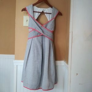 ESLEY Modcloth Seersucker Dress Cutout Size S